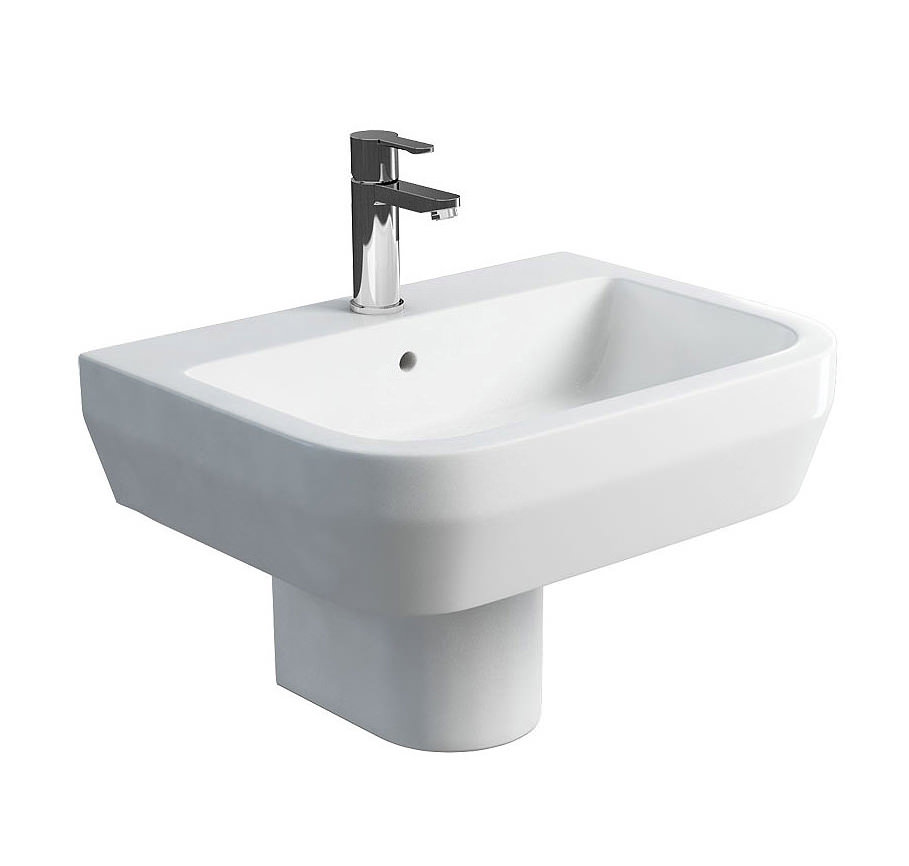Wash Basin With Pedestal : ... sinks britton curve s30 600mm wash basin and round semi pedestal