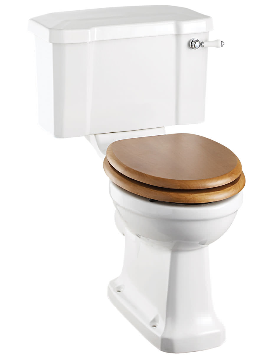 Regal Close Coupled WC With Ceramic Lever P C - Oak toilet seat soft close
