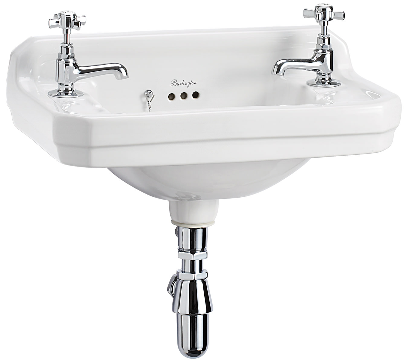 Burlington Corner Sink : Burlington Edwardian Wall Mounted 510mm Cloakroom Basin - B8