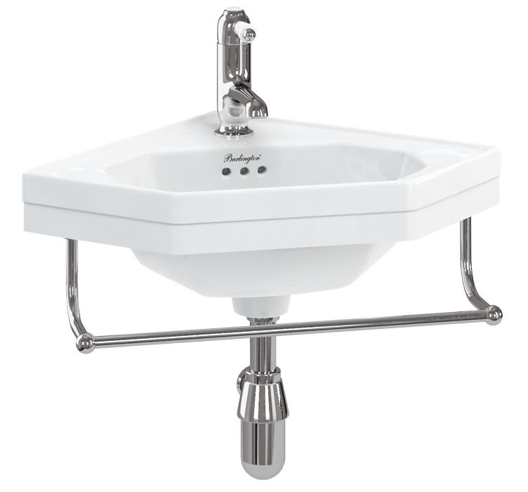 Corner Cloakroom Basin And Towel Rail B10 T8 Chr