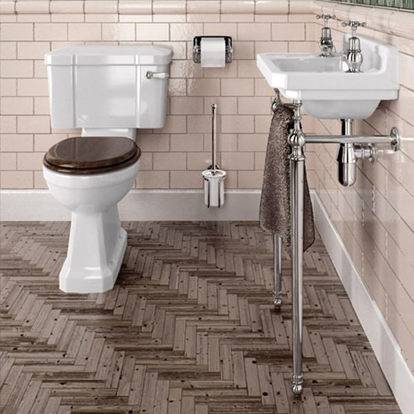 Burlington Cloakroom Slimline Toilet Basin With Wash Stand