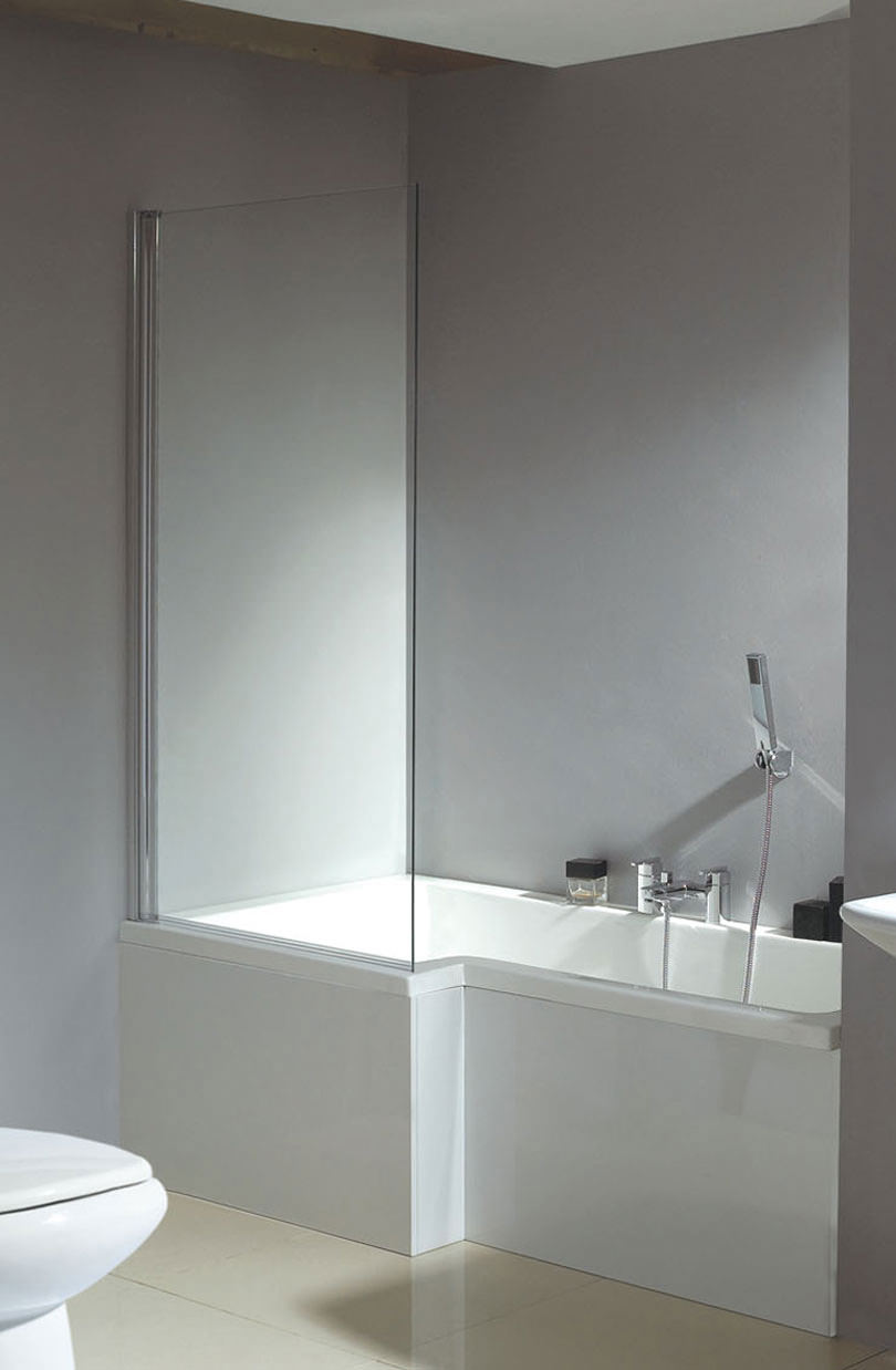 Phoenix Qube LH Whirlpool Shower Bath With White Panel And Screen ...