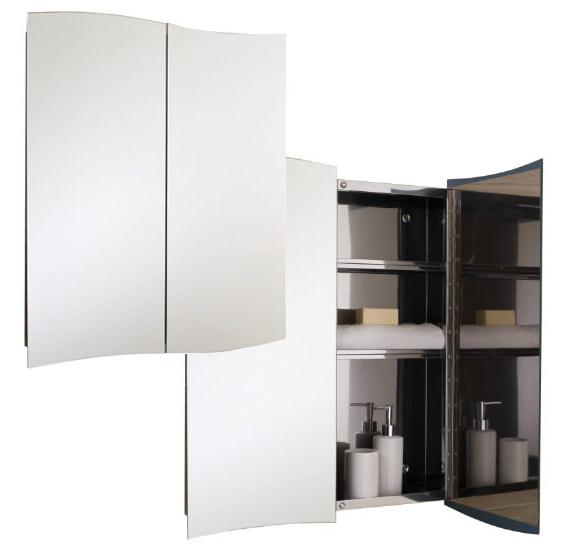 Rak wave stainless steel 600 x 700mm double door mirror for Bathroom cabinets 700mm
