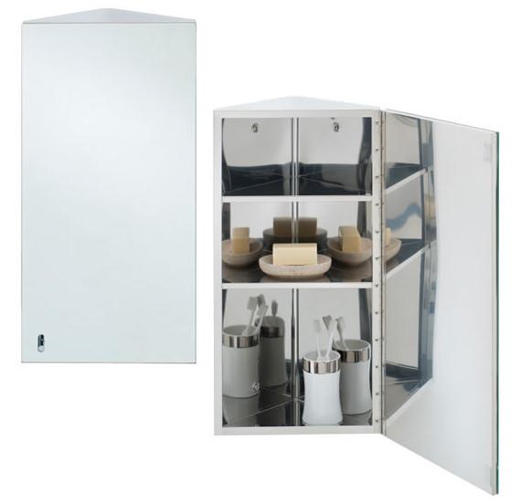 RAK Riva Stainless Steel 190 x 660mm Corner Single Door Mirror Cabinet