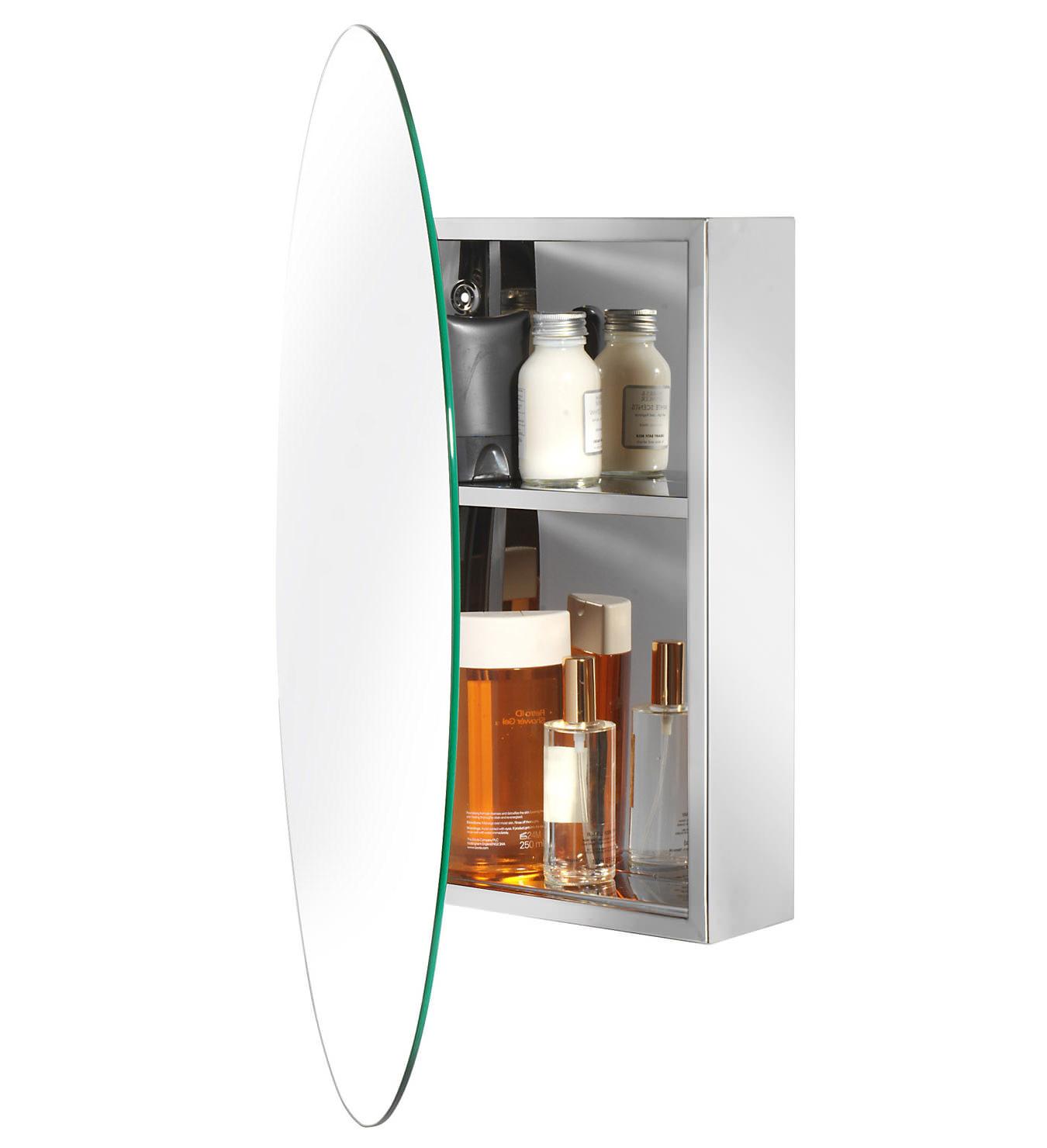 Croydex Tay Stainless Steel Oval Door Mirror Cabinet Wc870105: oval bathroom mirror cabinet