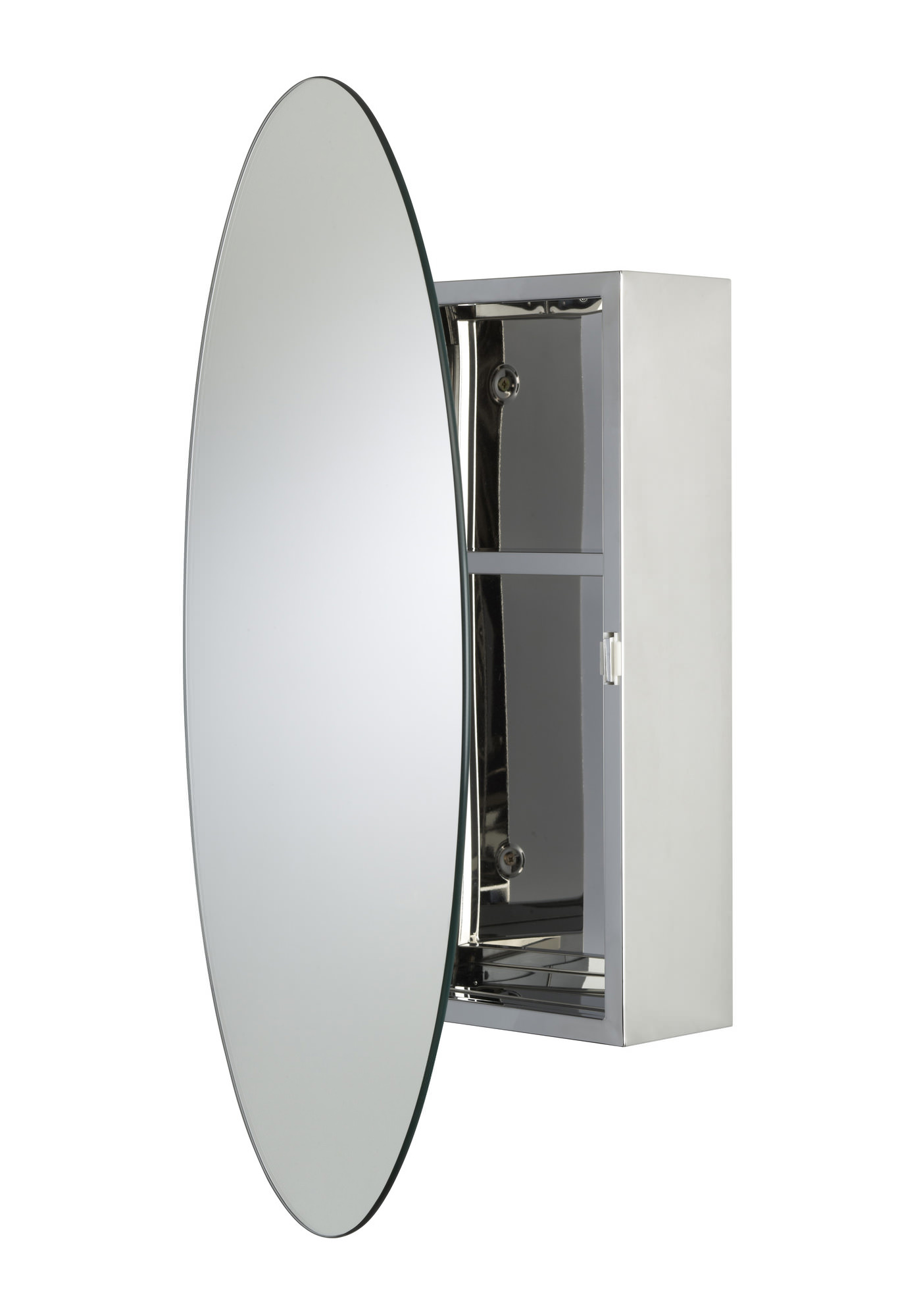 Croydex Tay Stainless Steel Oval Door Mirror Cabinet WC870105