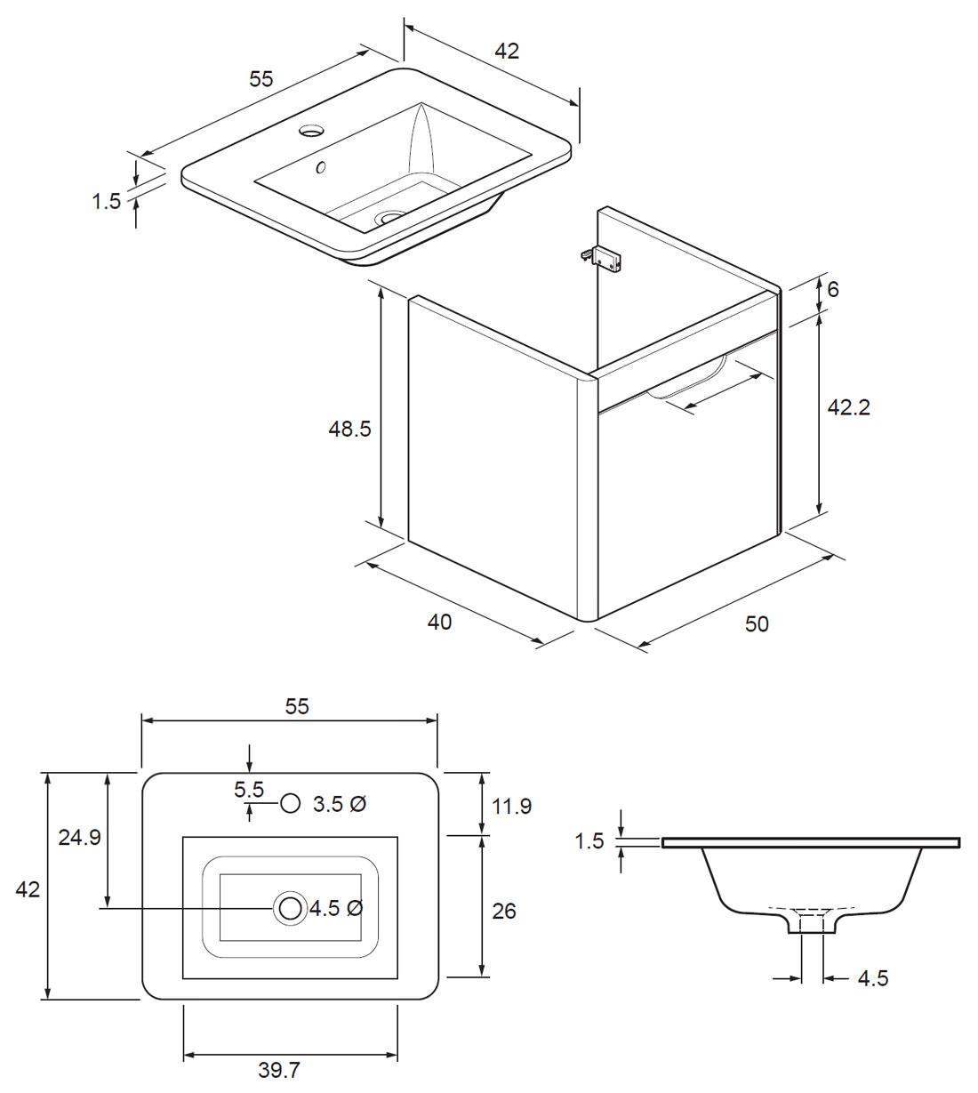 Bauhaus Solo 500mm Single Drawer Wall Hung Basin Unit