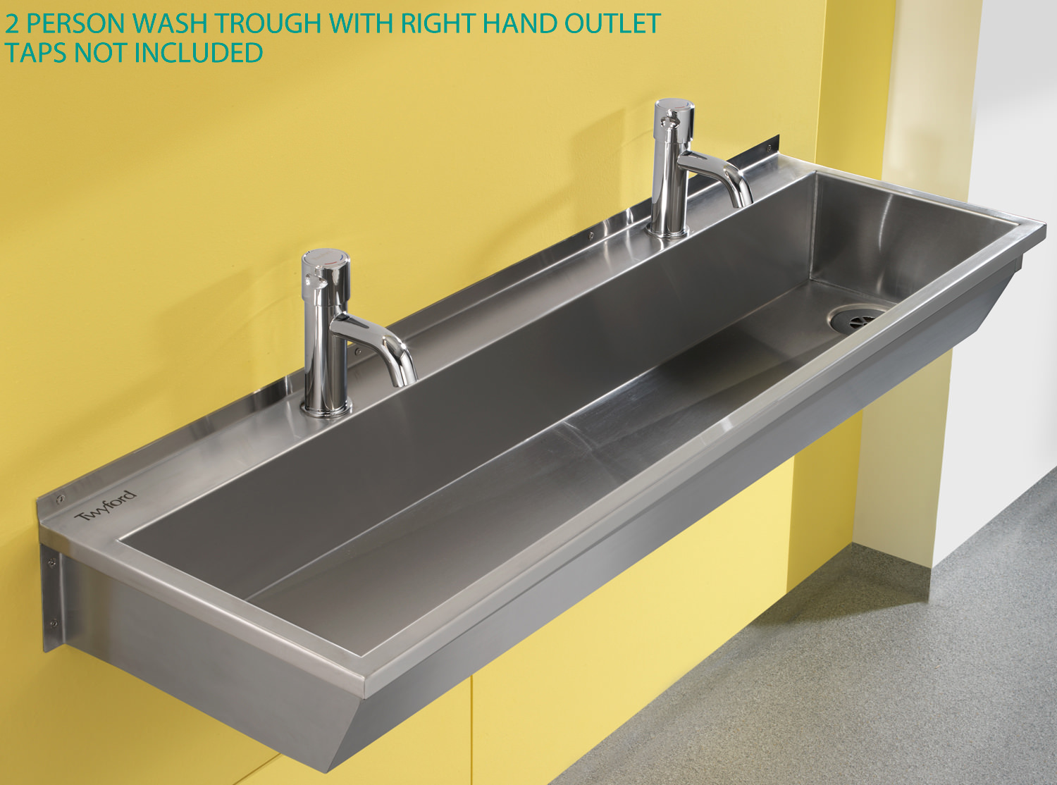 Metal Trough Sink : ... image of Twyford SS 1200 x 370mm 2 Person Stainless Steel Wash Trough