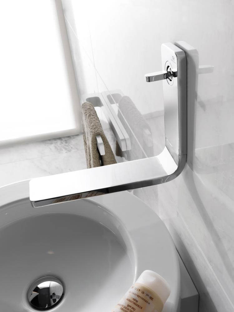 Porcelanosa Noken Lounge Wall Mounted Chrome Basin Mixer Tap