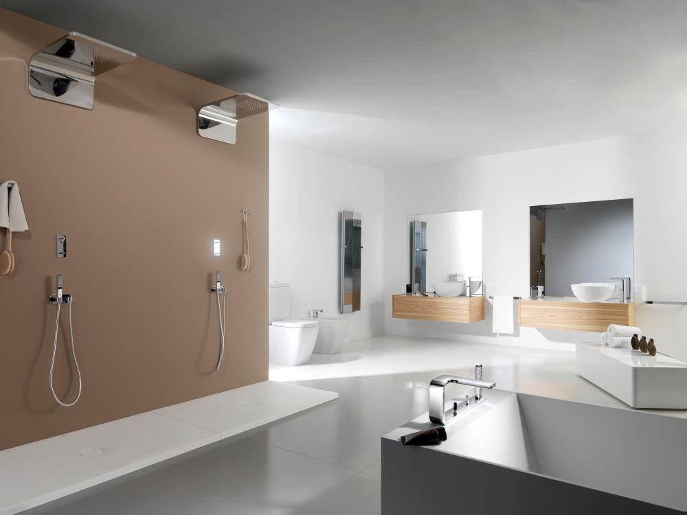 alternate image of porcelanosa noken lounge 4 hole deck mounted chrome bath tap with handset - Noken Porcelanosa