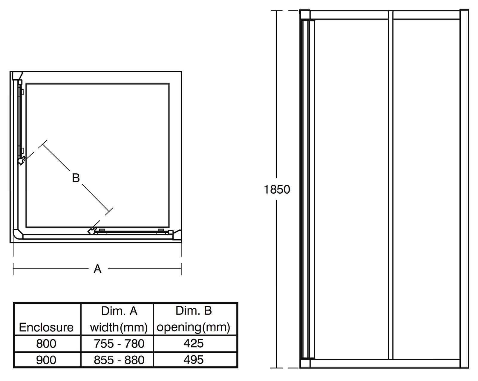 Ideal standard connect 900mm corner entry shower enclosure for Door handle height