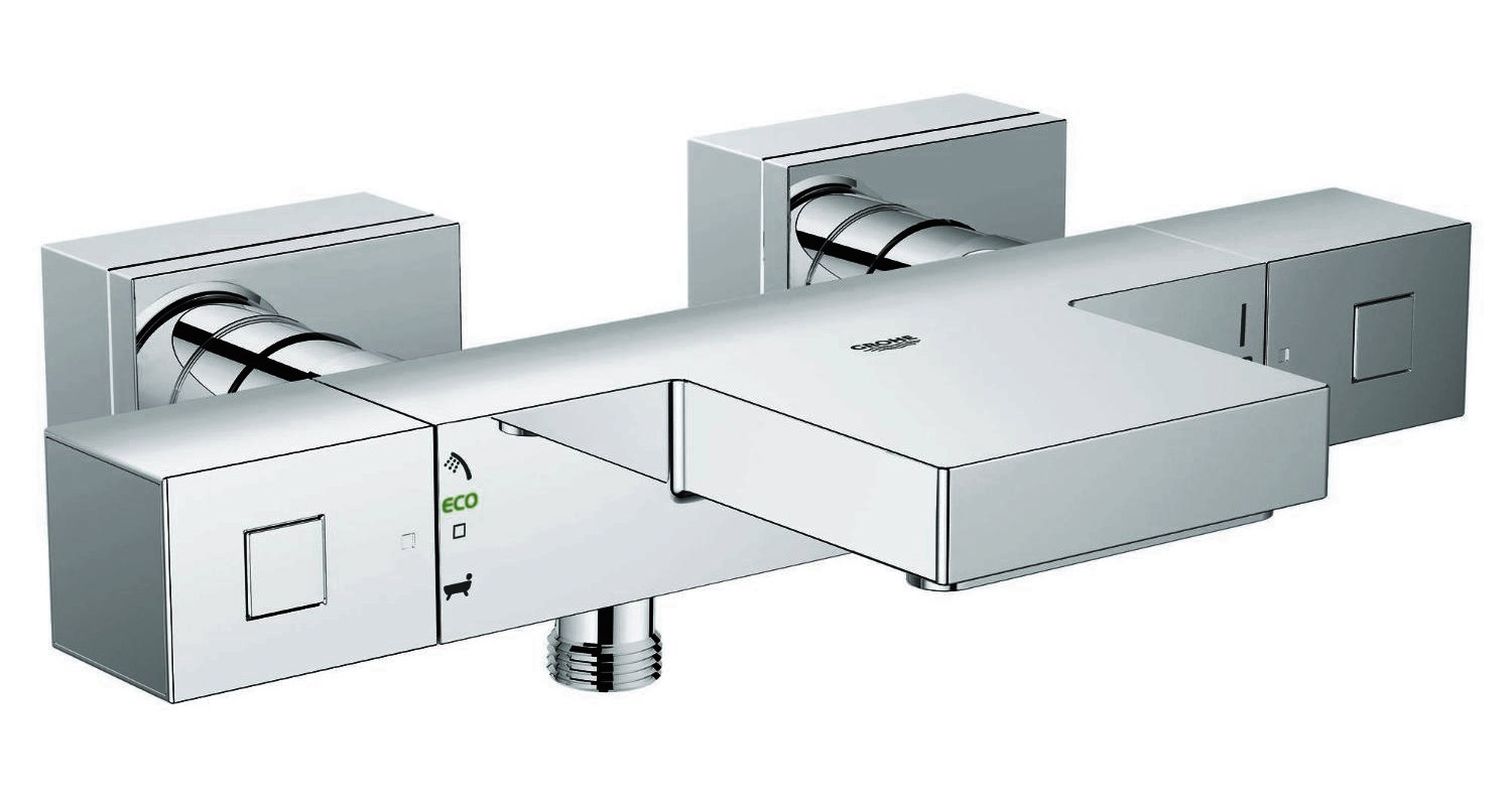 Grohe Grohtherm Cube Wall Mount Thermostatic Bath-Shower Mixer Tap ...