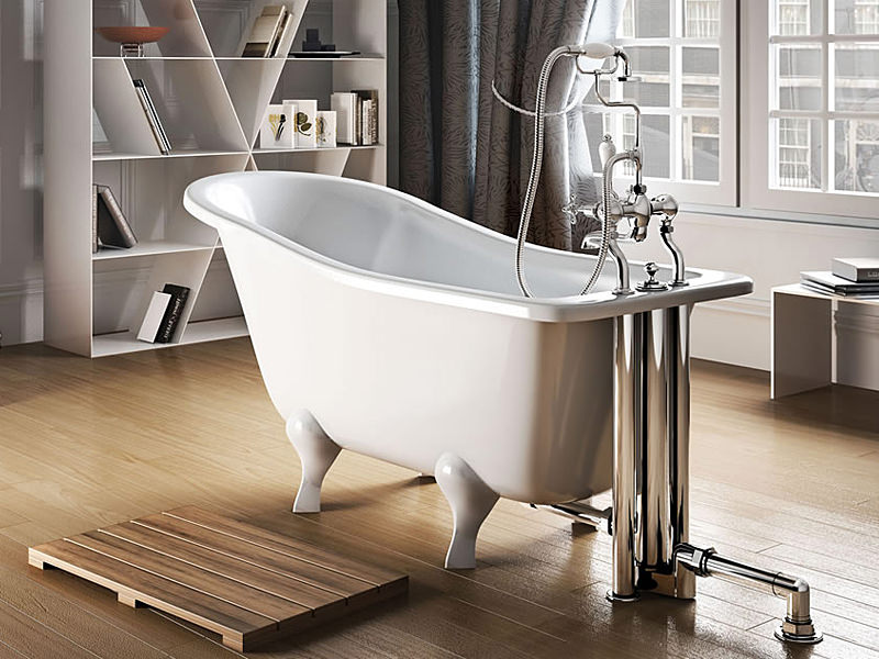 Clearwater York Slipper 1500mm Traditional Bath With White Arc Feet T1a