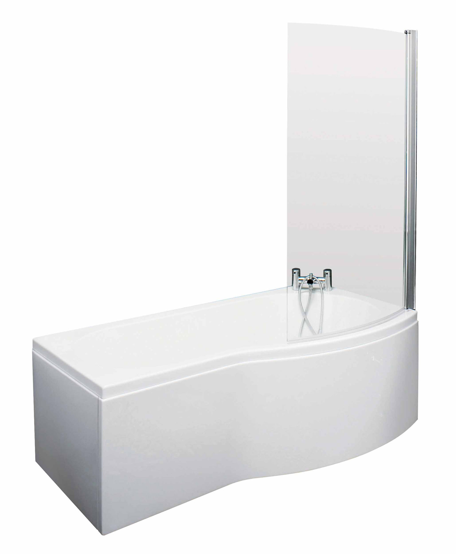 lauren 1500mm curved shower bath with screen and side