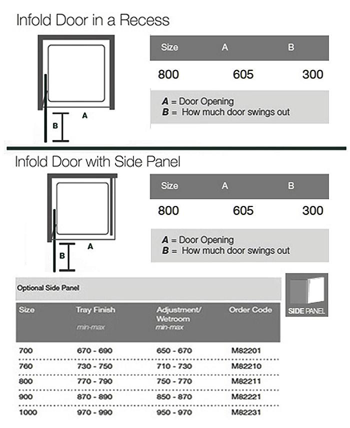 Merlyn 8 Series 800mm Infold Shower Door M84411