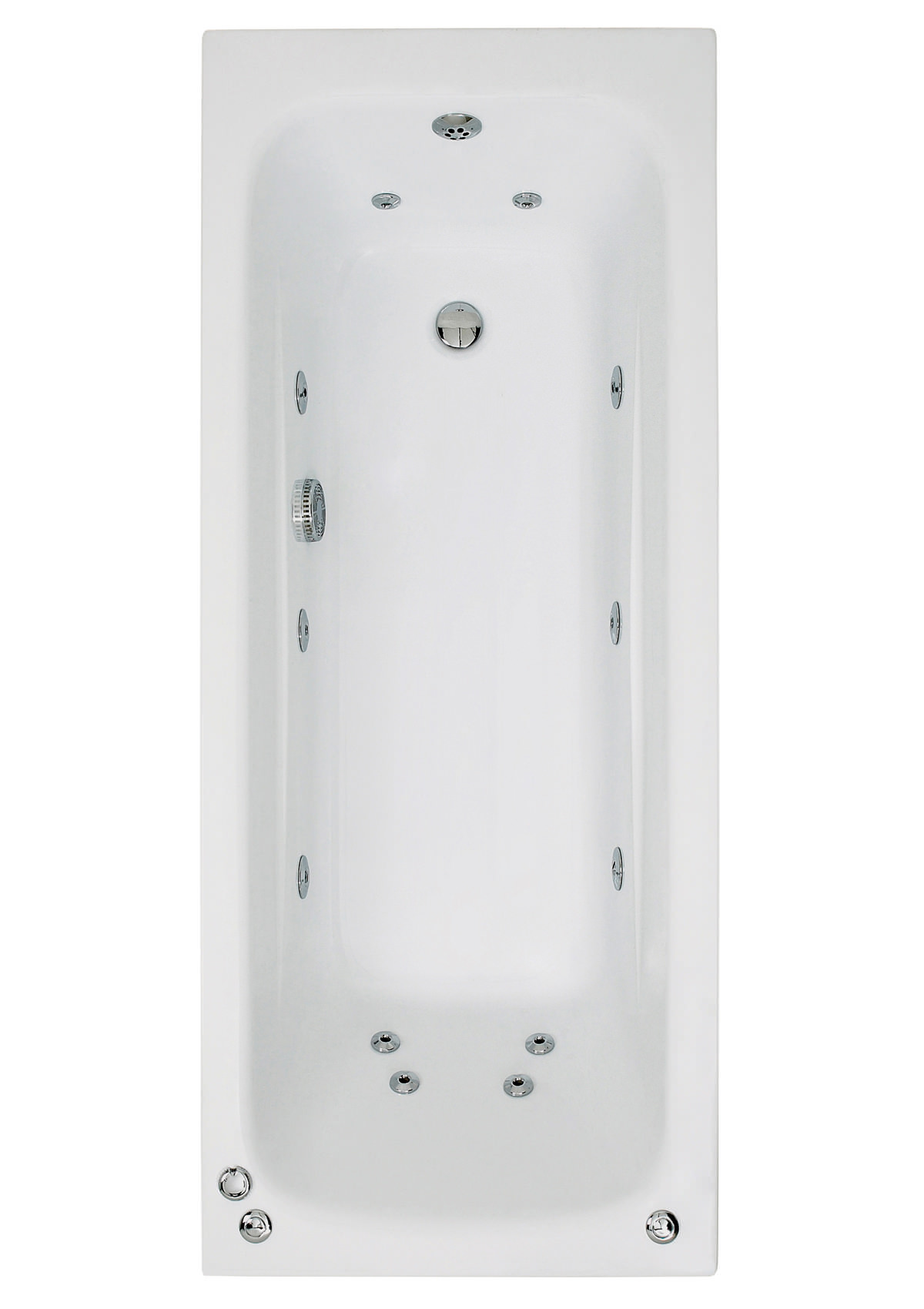 Phoenix Crystal Single Ended Whirlpool Bath 1600 x 700mm System 1 ...