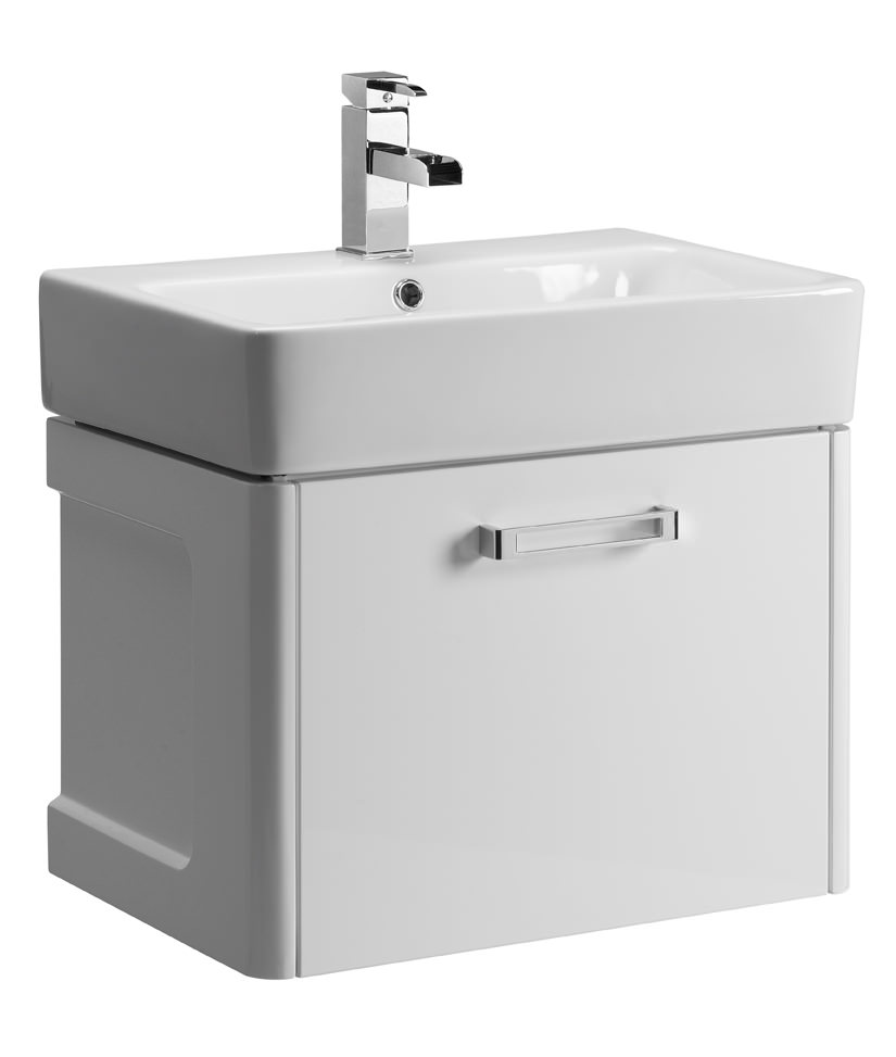 Tavistock Q60 575mm White Wall Mounted Vanity Unit With