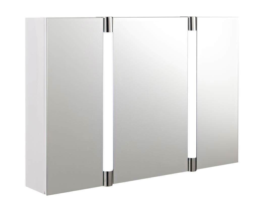 Hudson reed lincoln mirror cabinet with clock and shaving socket for Bathroom mirror cupboard