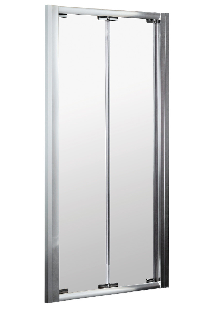 lauren ella 900mm bi fold shower door satin chrome erbd90