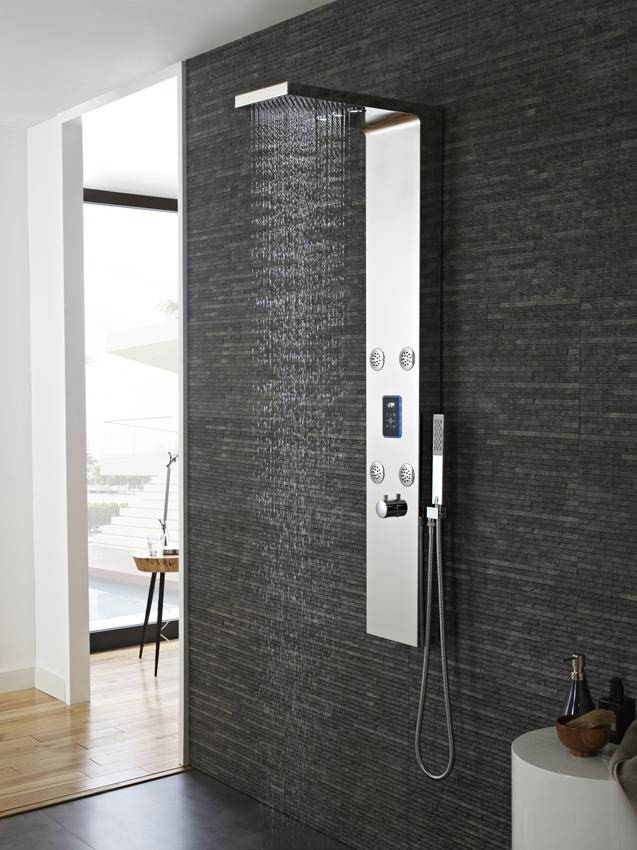 hudson reed genie led thermostatic shower panel chrome