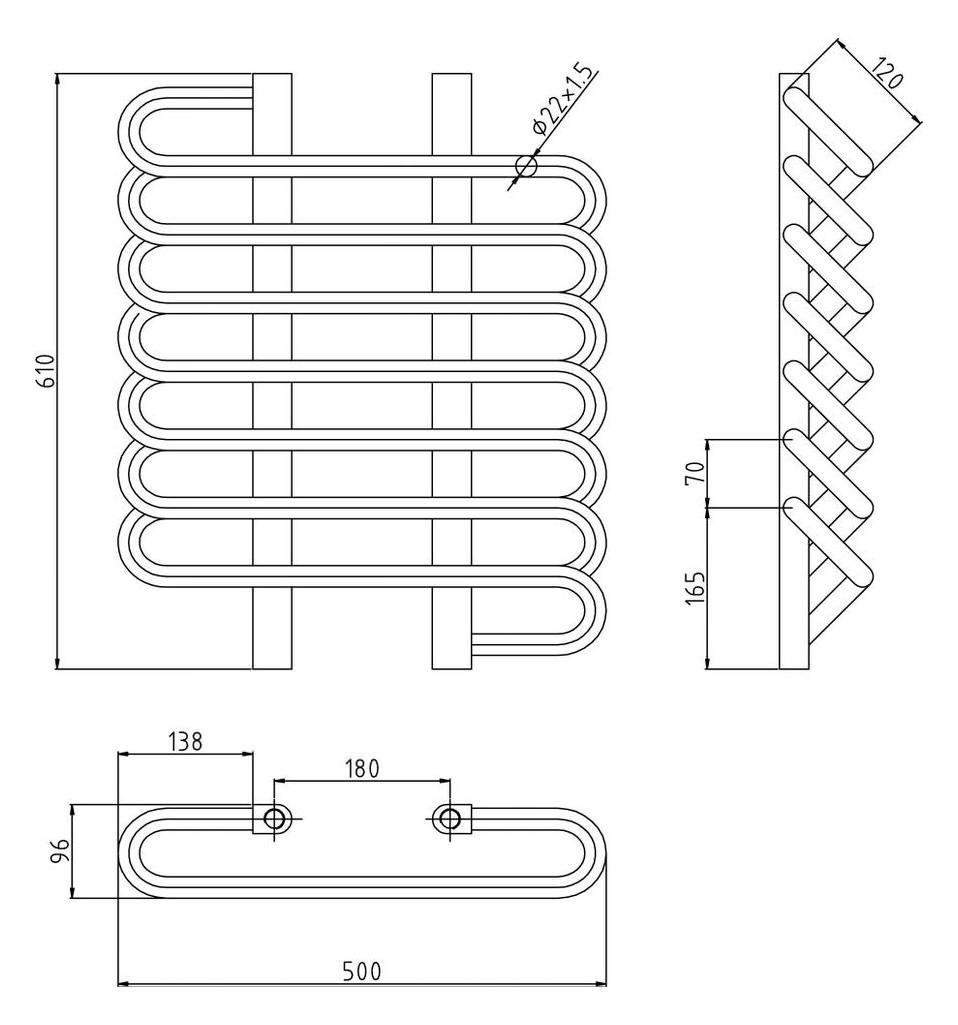 Hudson Reed Finesse 610 x 500mm Designer Radiator HL381 Chrome Stainless Steel