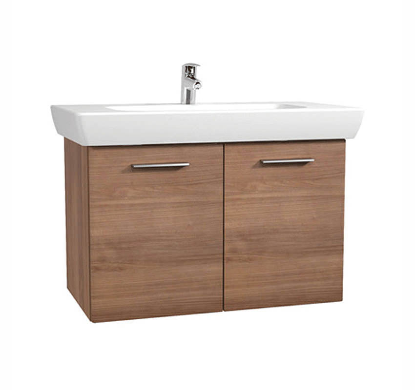 Vitra s20 dark cherry finished 850mm vanity unit and basin for Bathroom cabinets 400mm wide