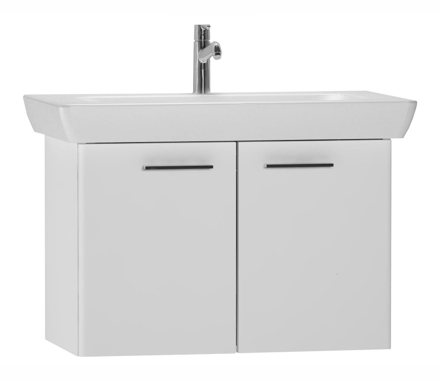 Arizona 600mm wall hung black gloss basin vanity unit side cabinet - Vitra S20 High Gloss White Finished 65cm Vanity Unit And Basin