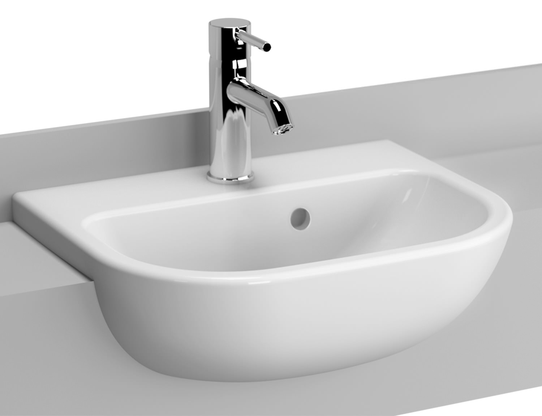 Semi Recessed Basin Bathroom Sink Cloakroom Basin White counter top
