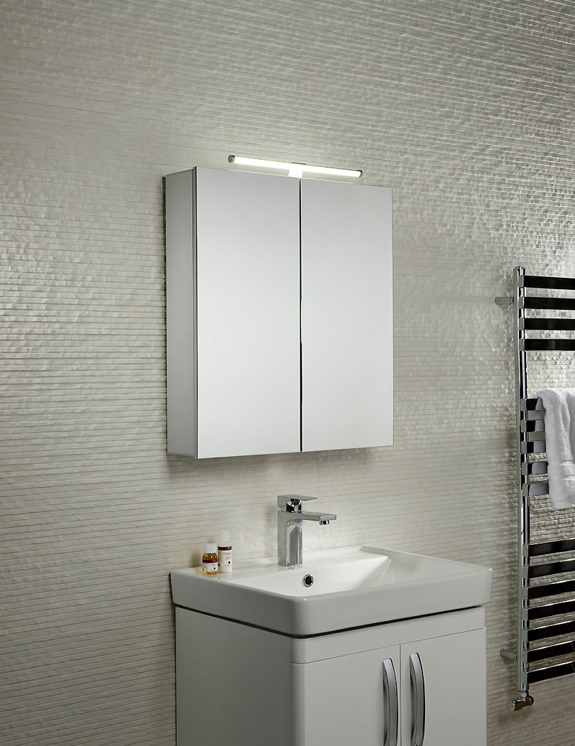 Additional Image Of Tavistock Conduct Double Door Mirror Cabinet With LED Lighting CO60AL