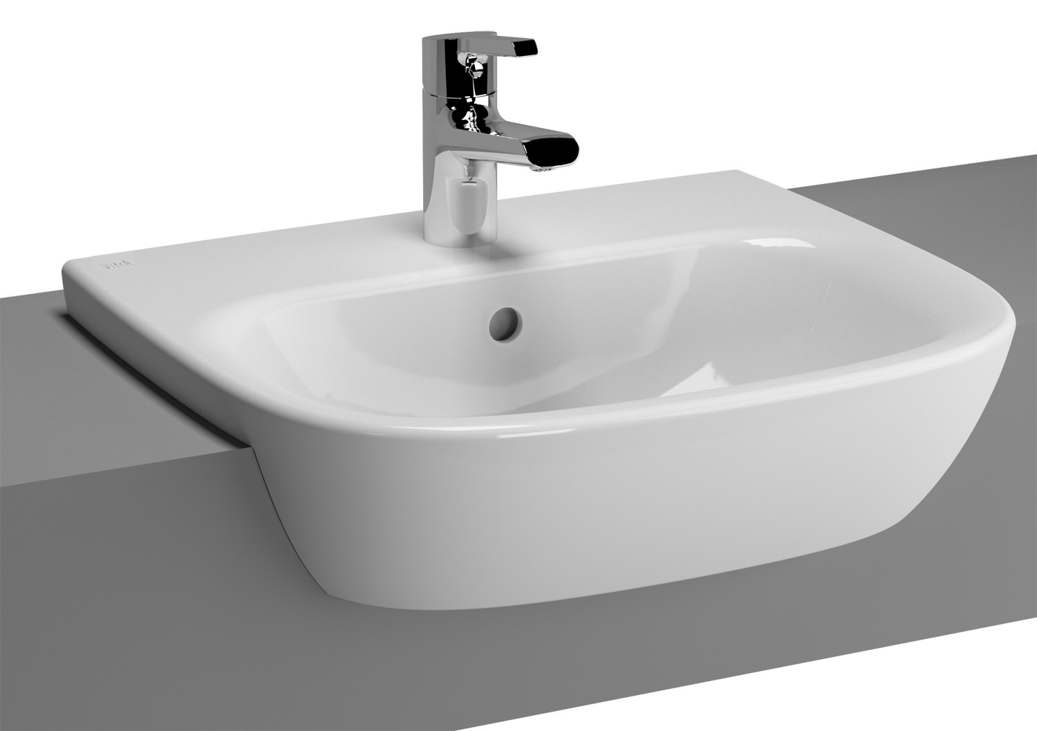 Ultra modern kitchens - Vitra Zentrum 495mm Semi Recessed Basin 5635b003 0001