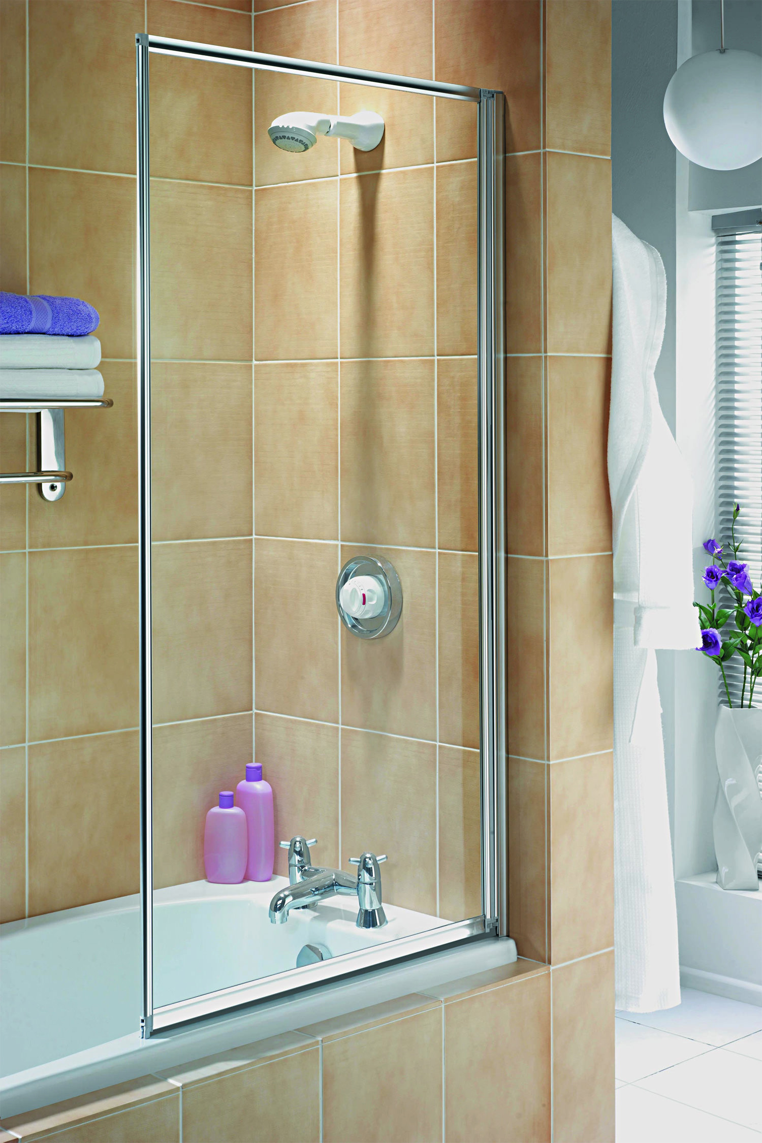 Aqualux Aqua 3 Fully Framed Bath Screen White Fs6456aqu