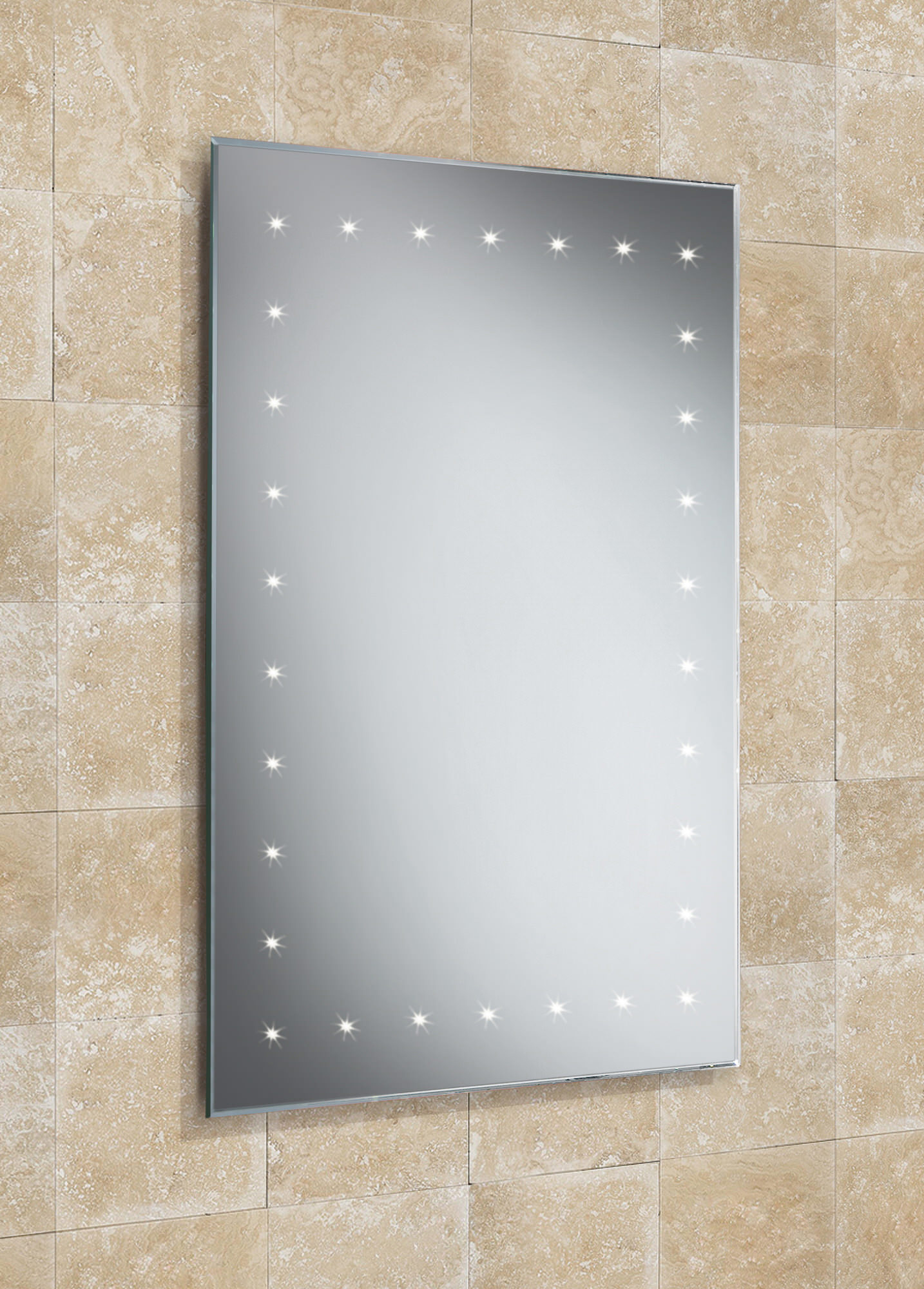 HIB Solar Bevelled Edge Bathroom Mirror With LED Border 500 X 720mm