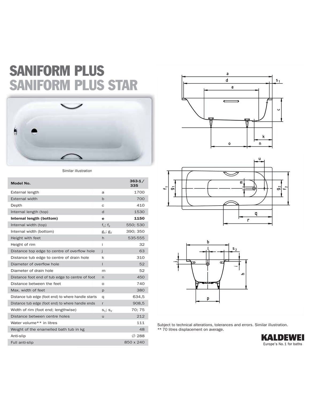 kaldewei saniform plus 363 1 steel bath 1700 x 700mm 2 th. Black Bedroom Furniture Sets. Home Design Ideas