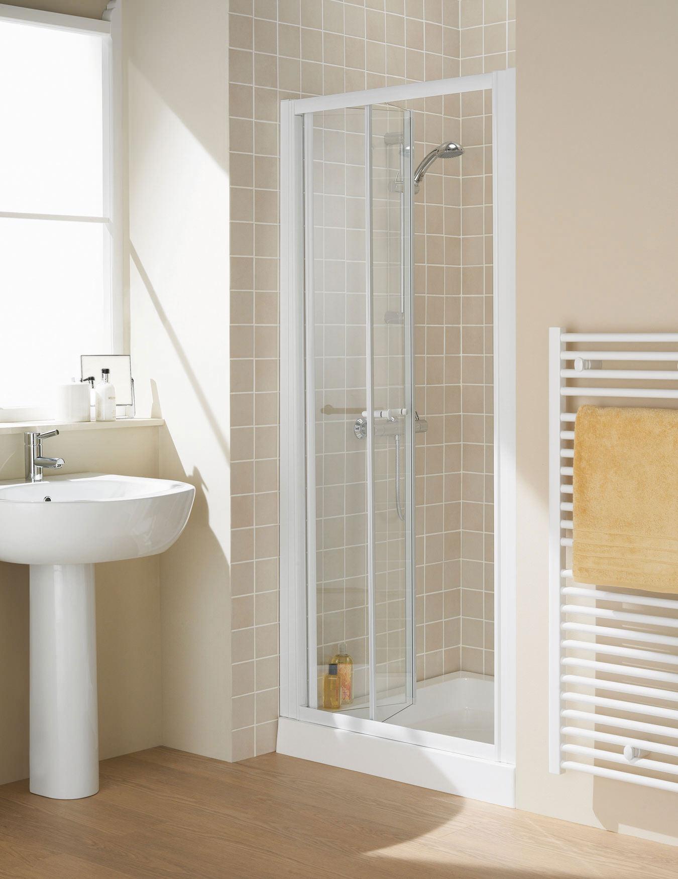Lakes classic silver semi frame less bi fold door 1000 x for 1000 bi fold shower door